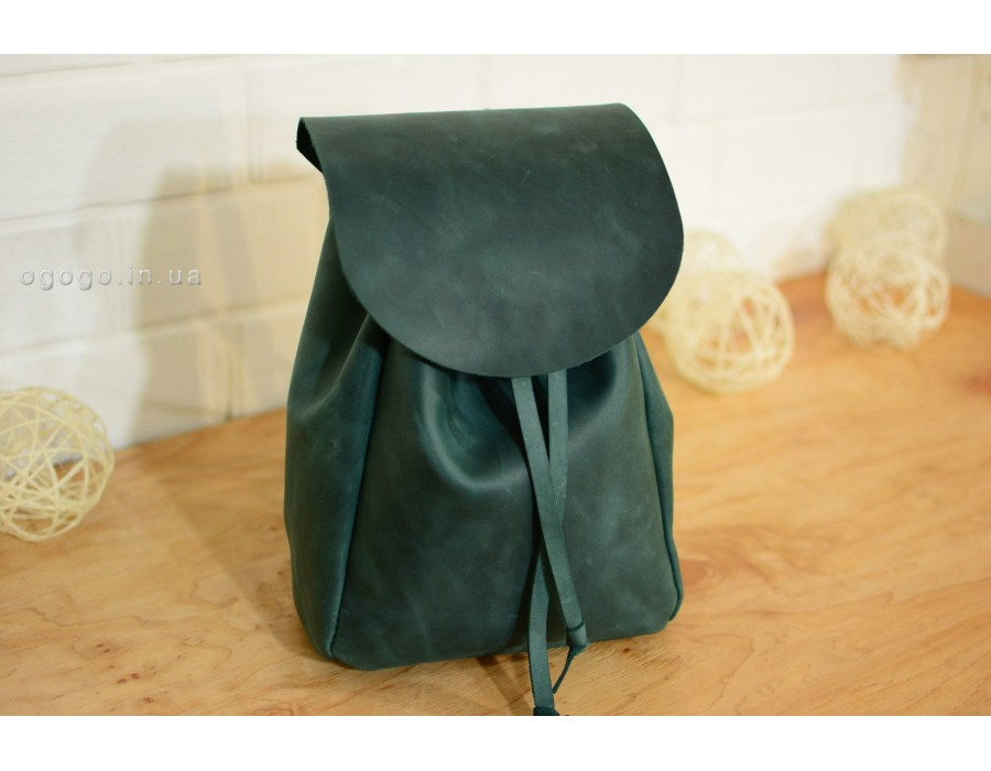 Женский зеленый рюкзак из натуральной кожи ручной работы. K00013-6