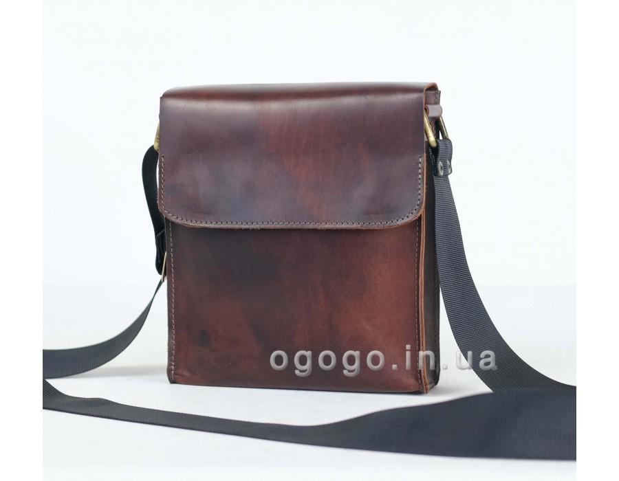 c80e149fcc98 Кожаная мужская сумка с плечевым ремнем ручной работы K00014-14