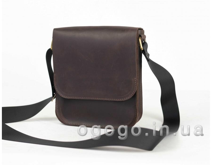 7ad094ac468d Кожаная коричневая мужская сумка ручной работы K00014-2