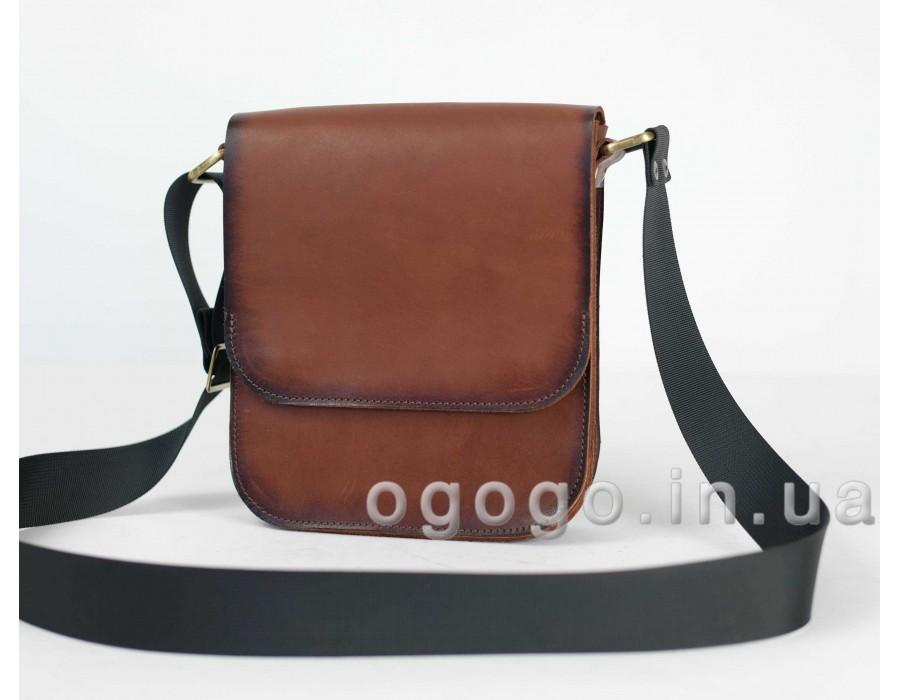 6334572c7fc8 Кожаная коричневая мужская сумка ручной работы K00014-5