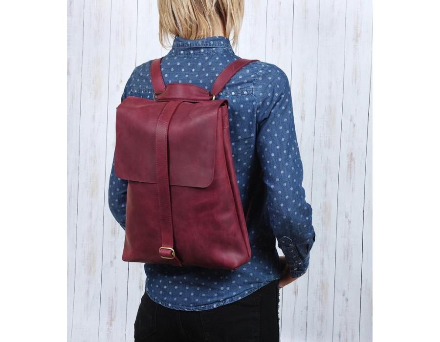Кожаный удобный рюкзак ручной работы цвет марсала K00016-6