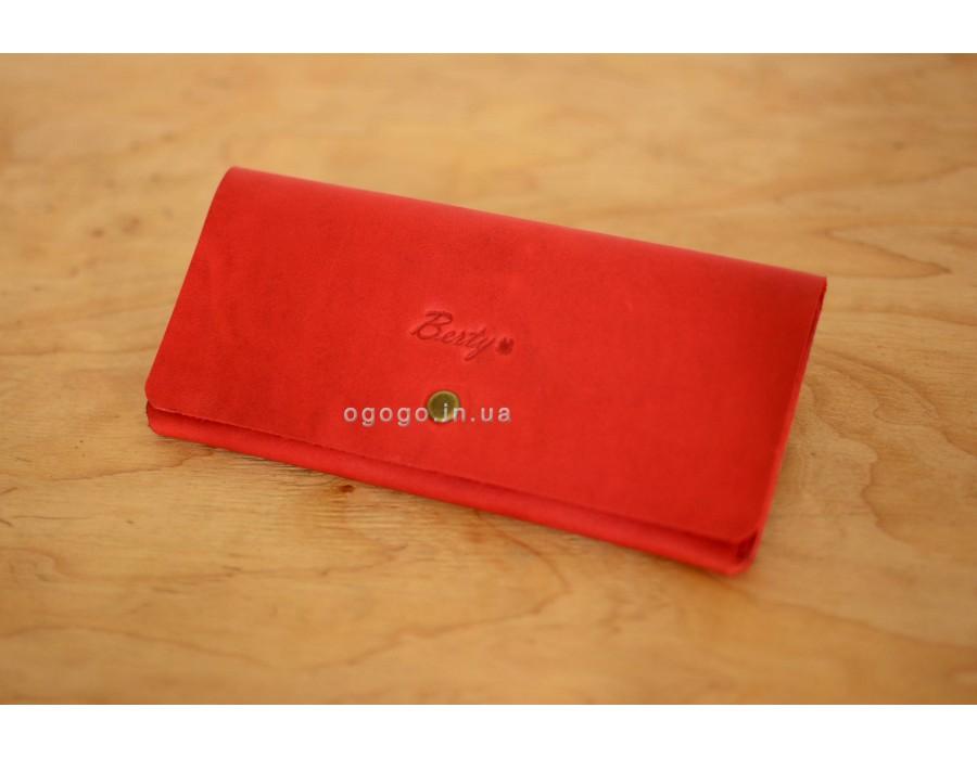 0f4558bddbb4 Кожаный красный женский кошелек ручной K00018-1