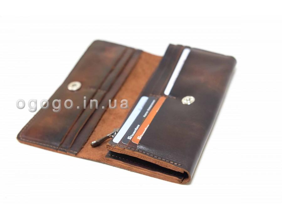 29476687249b Кожаный кошелек на много карточек K00020-3