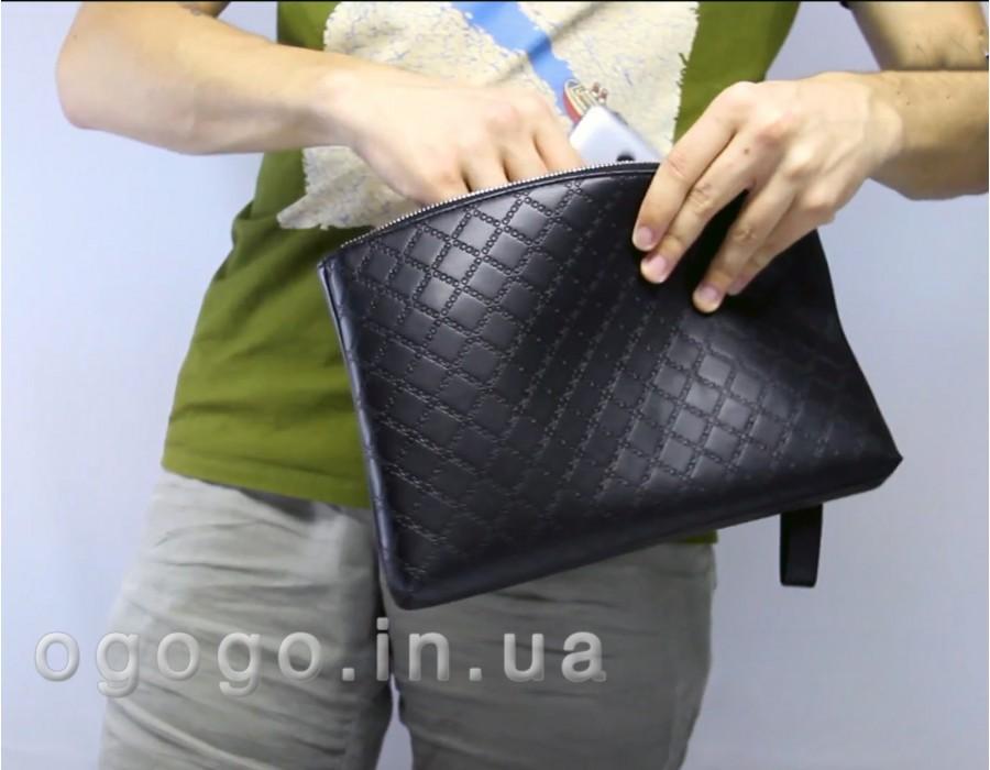 Мужская черная барсетка со съемным плечевым ремнем MS00180