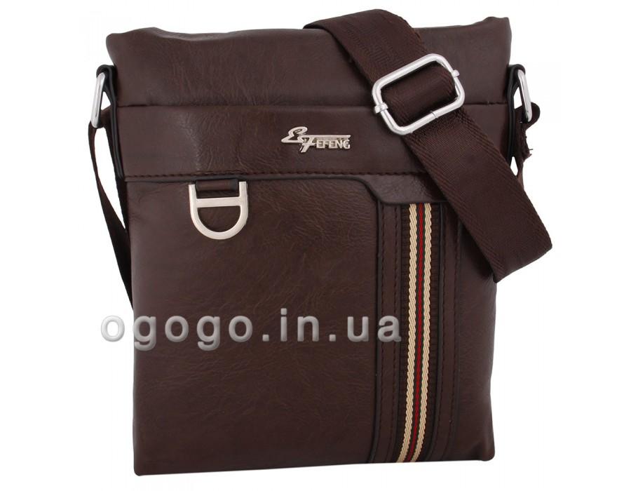 Коричневая молодежная мужская сумка без клапана MS00184