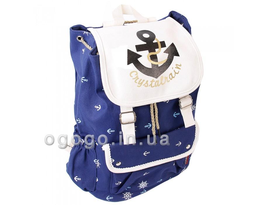 Синий вместительный пляжный рюкзак с якорем R00082