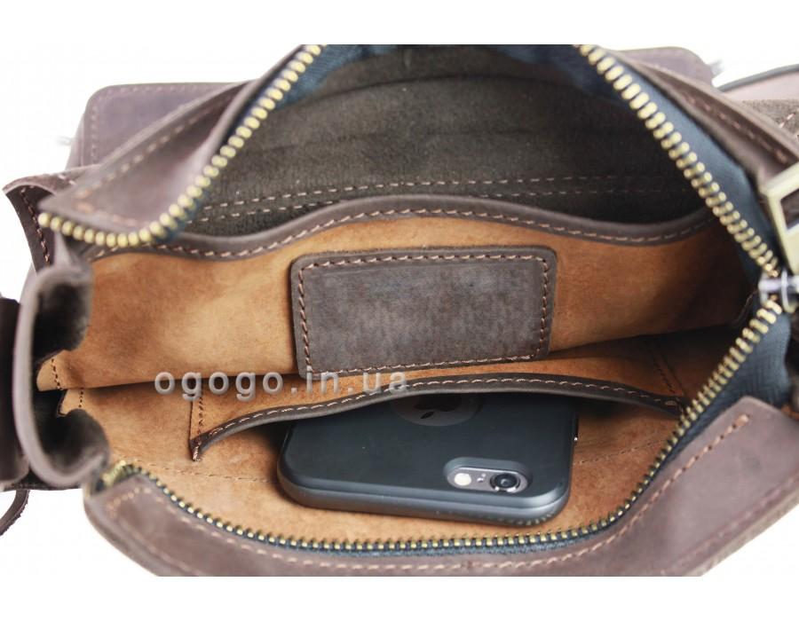 Коричневая кожаная мужская сумка через плечо ручной работы S00001-1 5620f7650db14