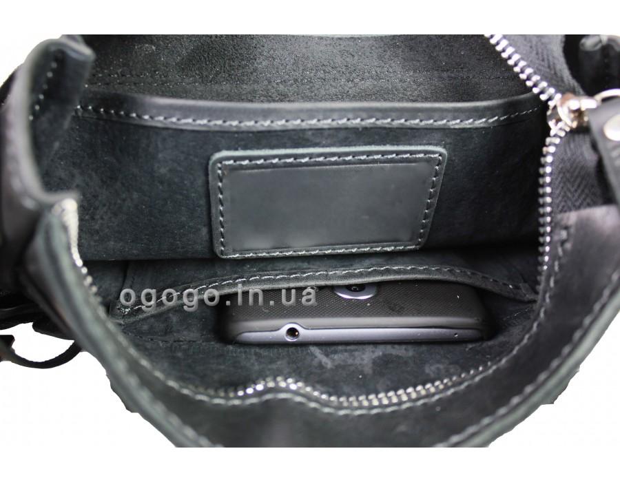 bbc60d4c98ca Модная черная кожаная мужская сумка ручной работы S00001-4