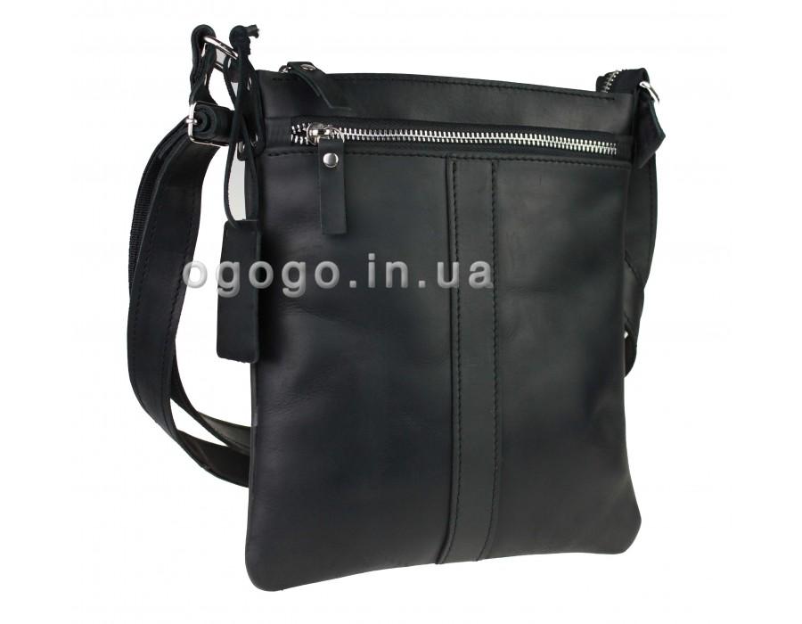 Черная кожаная мужская сумка планшет без клапана S00007-2
