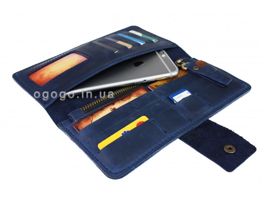 Синий кожаный кошелек натуральная кожа S00014-1
