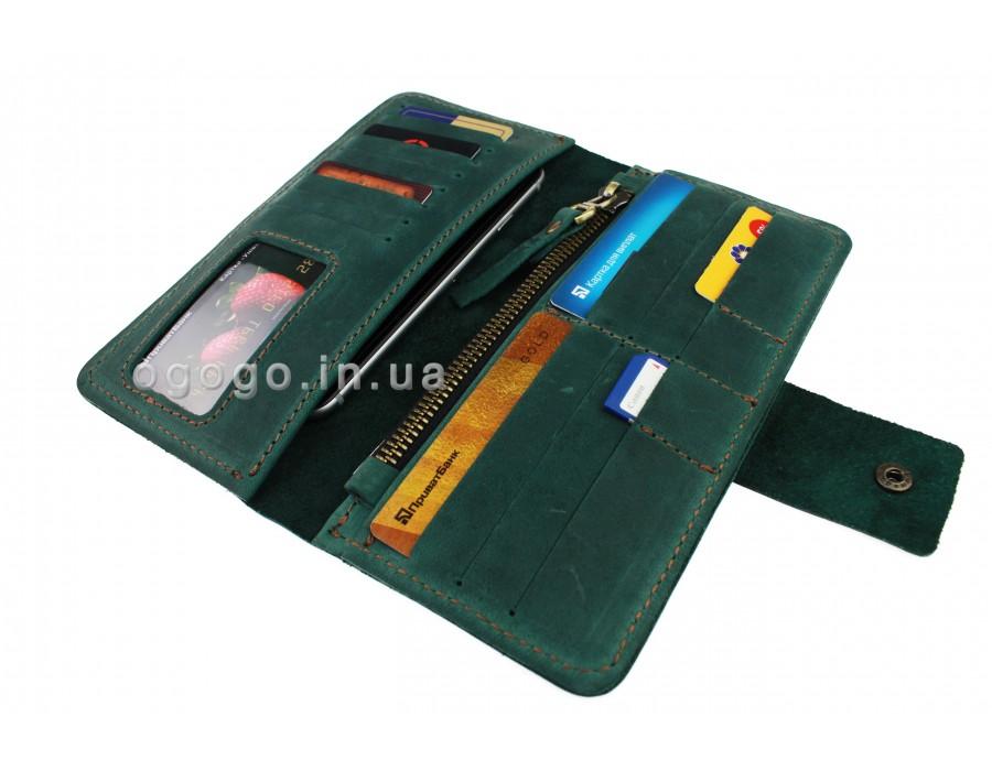 90a17c15d780 Зеленый кошелек натуральная кожа S00014-2