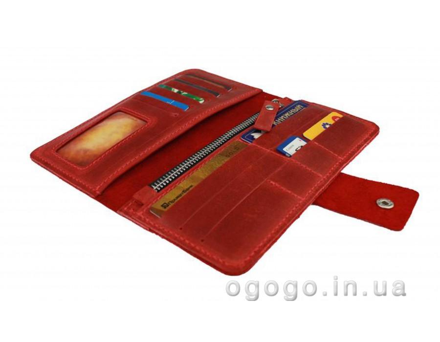 Красный кошелек на кнопке кожа S00014-4