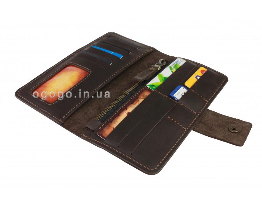 Кожаный кошелек в два сложения на кнопке S00014-5