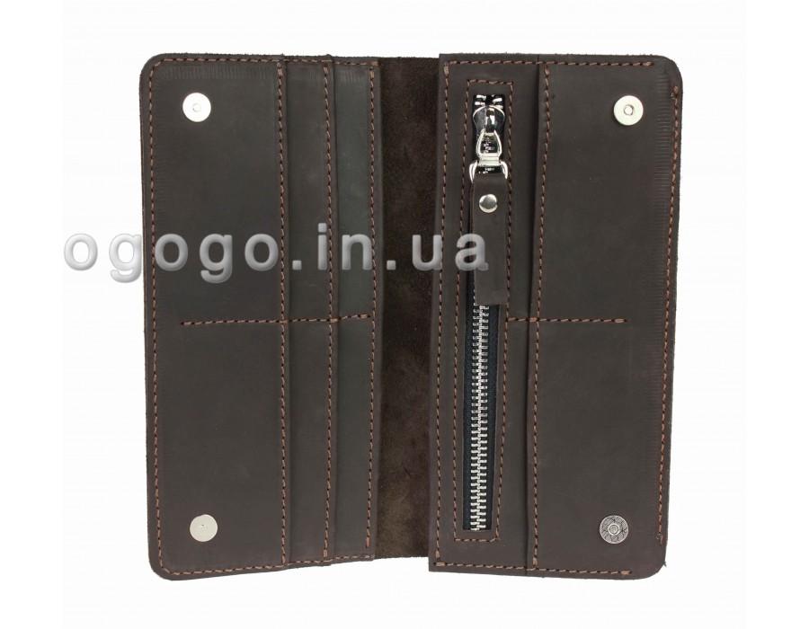 Кожаный кошелек шоколадного цвета на магнитах S00018-4