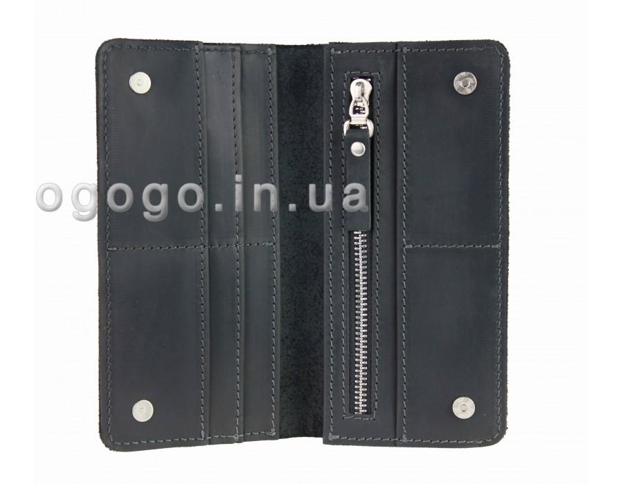 Черный кожаный кошелек на магнитах S00018-5