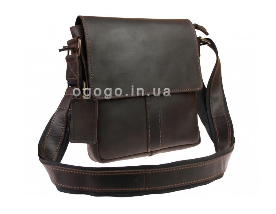 Кожаная коричневая классическая сумка на плечо S00021-2