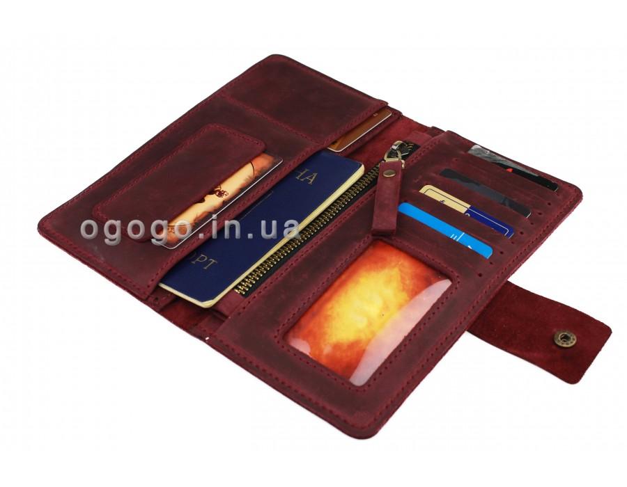 Бордовый кожаный кошелек S00022-1