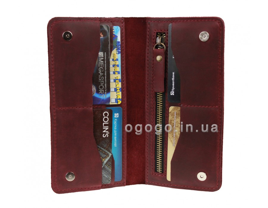 Бордовый кошелек из натуральной кожи S00023-3