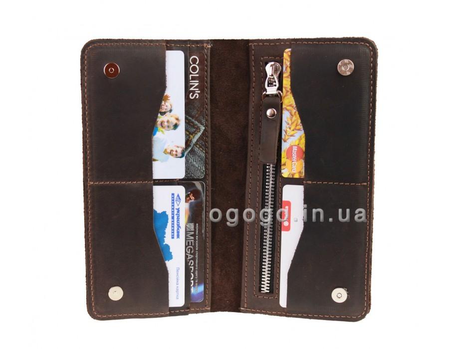 Кожаный кошелек коричневый ручной работы S00023-6