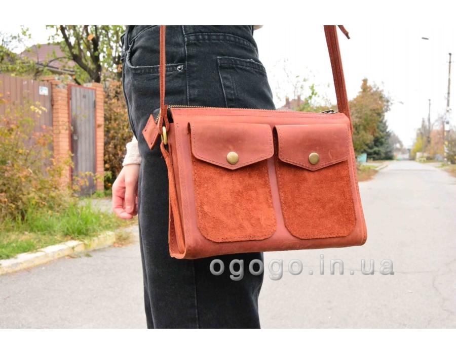 Кожаная женская сумочка на молнии T00007-1