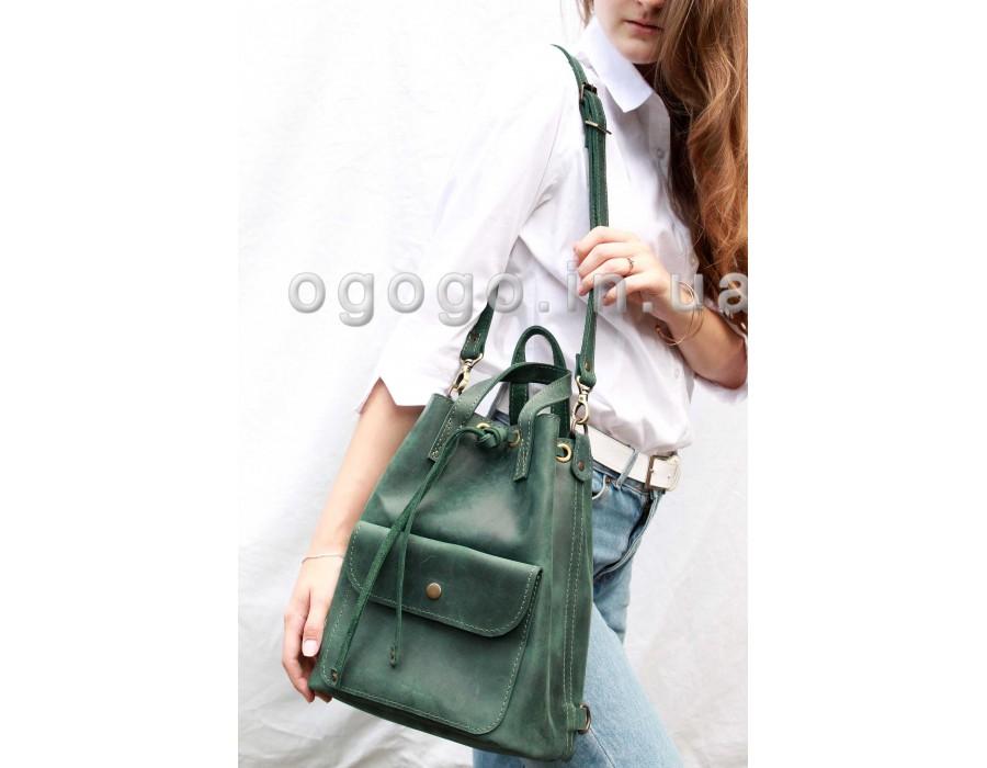 Красивый кожаный рюкзак зеленого цвета T00009-3