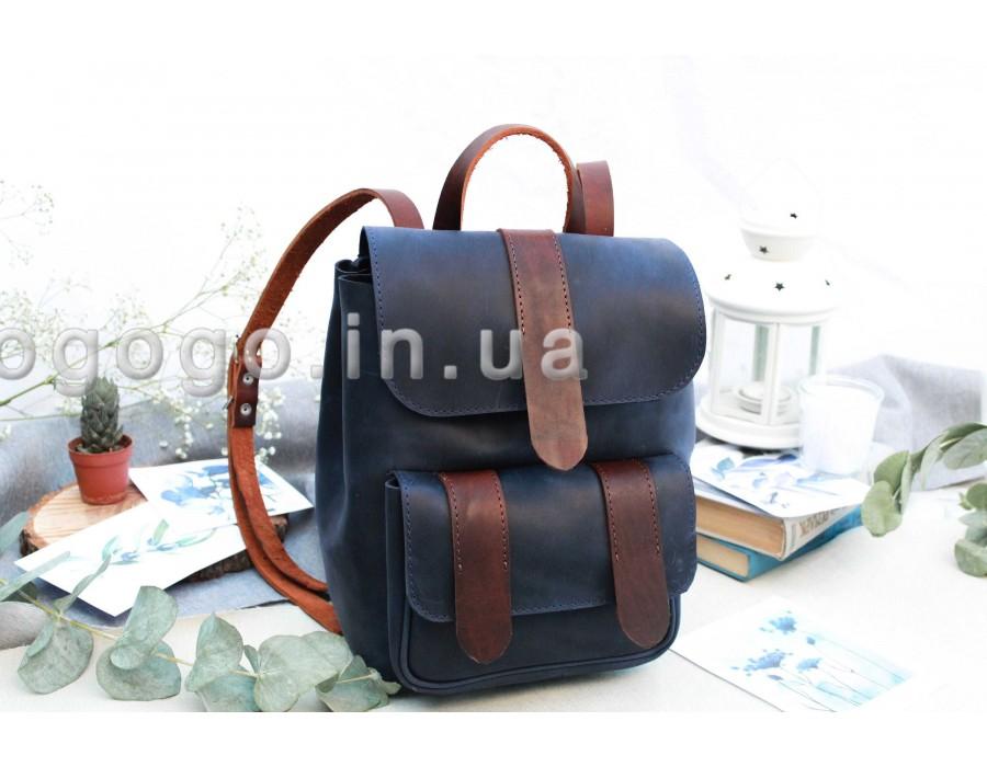 Синий кожаный рюкзак ручной работы T00010-3