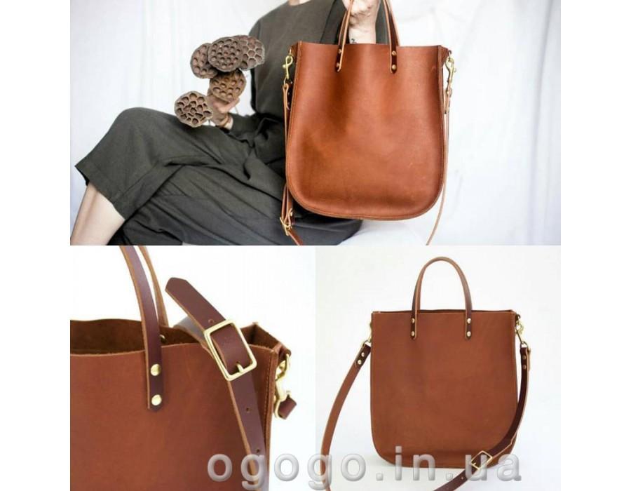 Кожаная сумка шоппер T00011-1