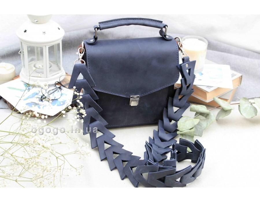 Синяя небольшая кожаная сумка T00012-3