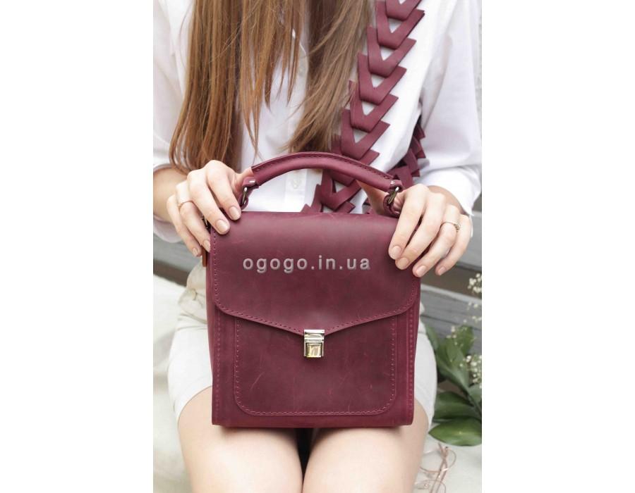 Кожаная женская сумка бордо T00012-4