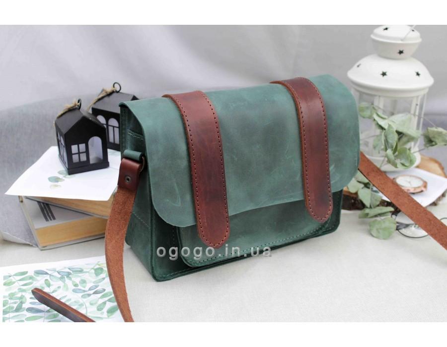 Зеленая сумочка кожа T00013-1