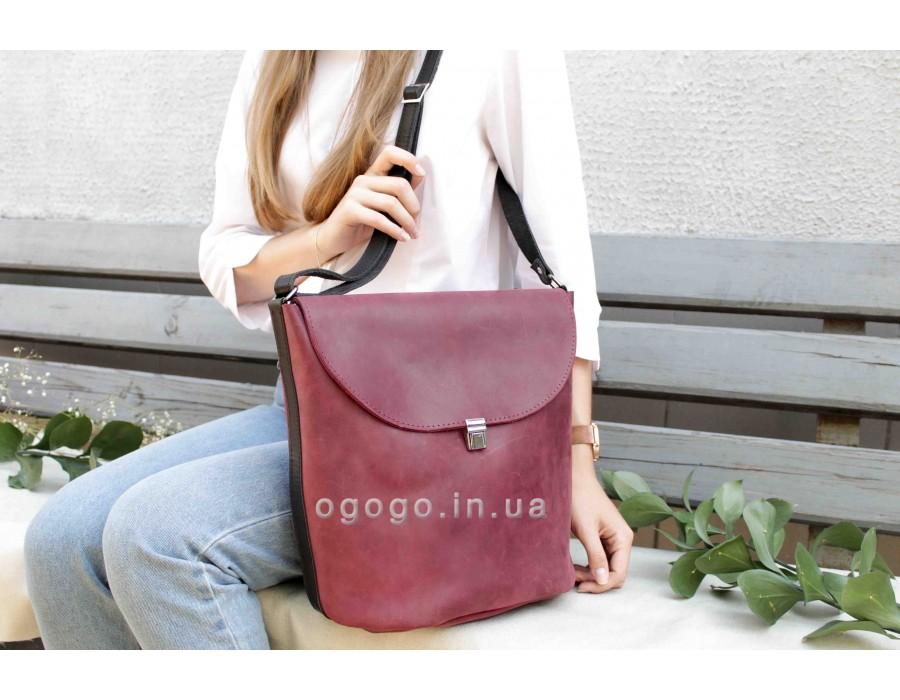 Кожаная сумка бордо T00015-3