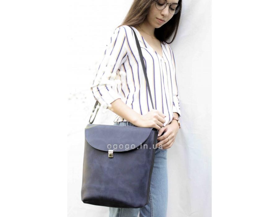 Синяя кожаная сумочка T00015-4