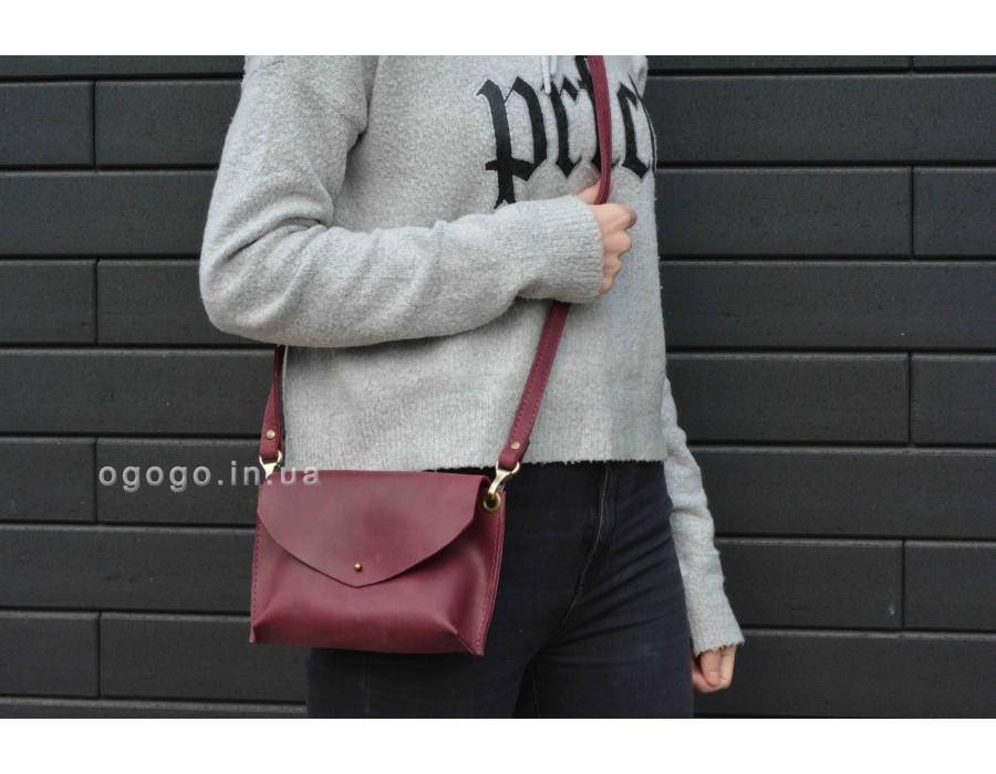 Кожаная бордовая сумочка T00016-4