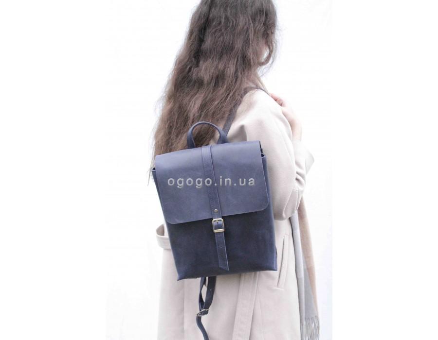 Кожаный рюкзак синего цвета ручной работы T00018-2