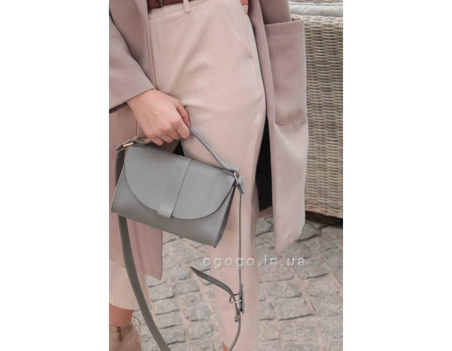 Маленькая серая кожаная сумка T00028-2